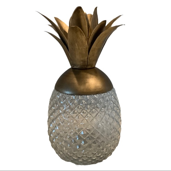 Glass Pineapple Decanter, Candle Holder Candy Dish